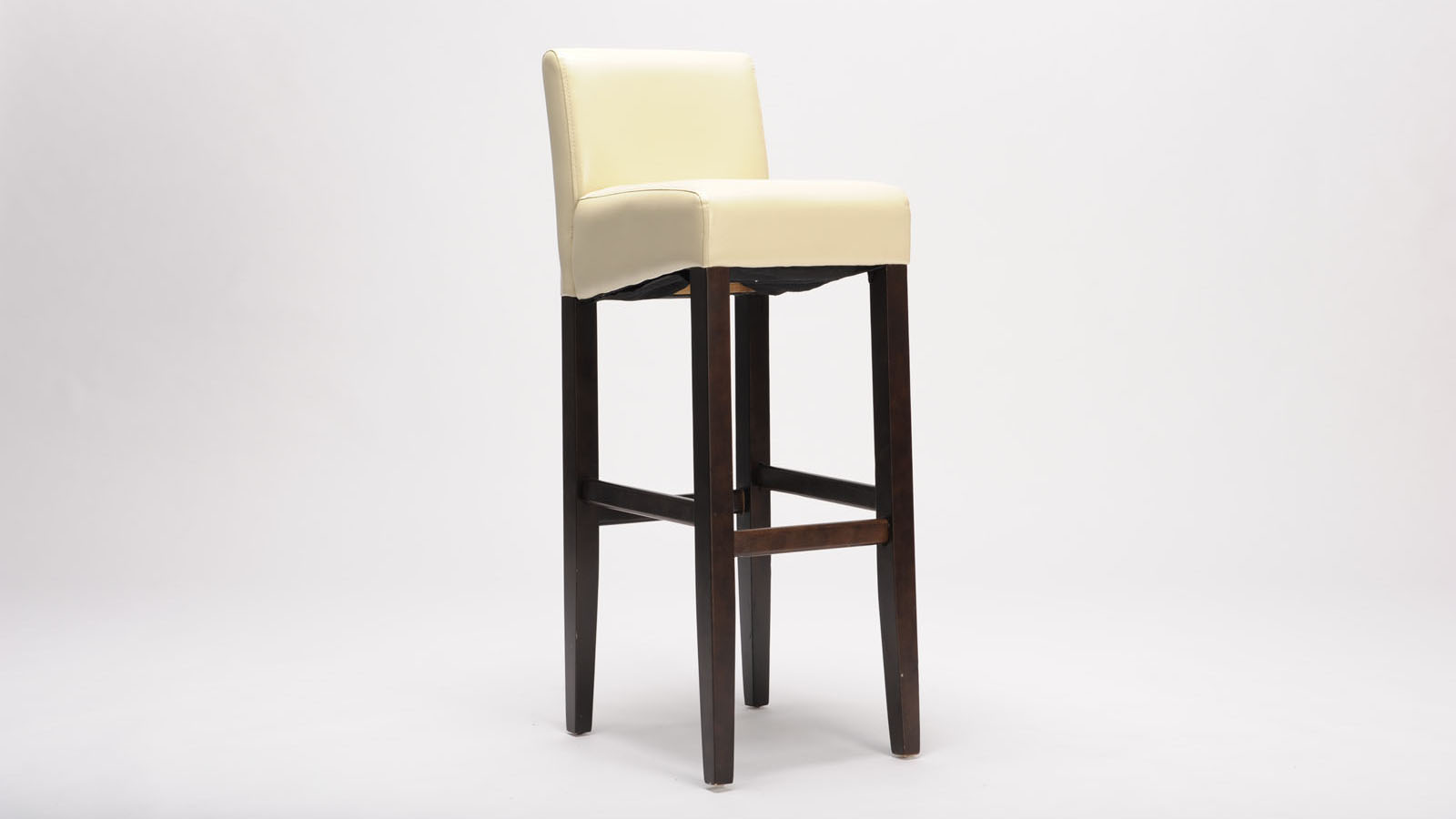 Description of the image, i.e. Artitalia's stool named x with white seating and brown legs.