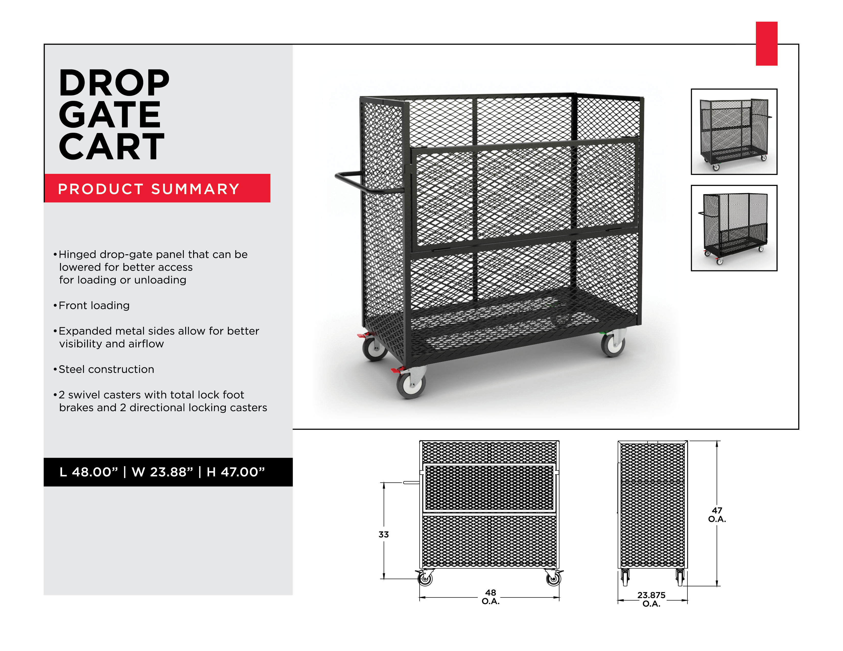 Industrial Sorting Carts: Drop Gate Cart